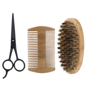 3Pcs/set Boar Bristle Mens Shaving Brush Beard Comb and Scissor Kit With Customized Logo