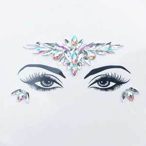 New products jeweled face mask art cosmetic glitter stick on face jewels body art for cosplay party