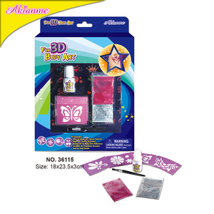 Akias Shiny Body Art Product Pink And Silver Color Body Tattoo Kit