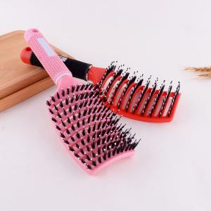 Boar bristle vent hair brush curved hair brush ,dry fast hair brush ,boar hair extension brush