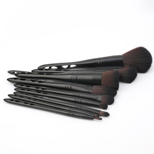 private label black hollow handle makeup brush with cup