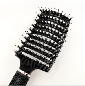 Amazon Hot Custom LOGO Curved Vent Detangling Wave Brush Boar Bristle Hair Brush with nylon bristle