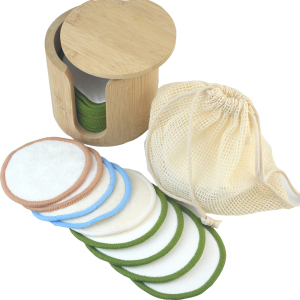 Organic reusable bamboo cotton round 16 Pack Reusable Bamboo Cotton Makeup Remover Pads with Washable Laundry Bag,bamboo Holder