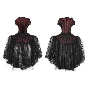 Gothic Bat Black&Red Jacquard High Collar Embroider Lace Short Cape