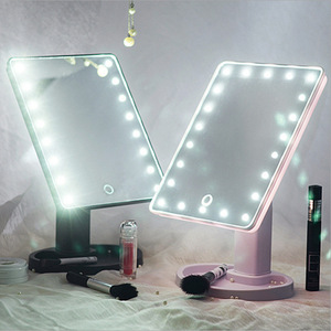 2018 Hot 16/22 Leds Lighted Makeup Mirror 360 Degrees Rotation Touch Screen Portable Luminous Cosmetic Mirrors Black/White/Pink