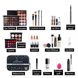 24PCS/Set Make Up Sets Cosmetics Kit Eyeshadow Lipstick Eyebrow Pencil Lip Gloss Makeup Brush Powder Puff with Makeup Bag Kit