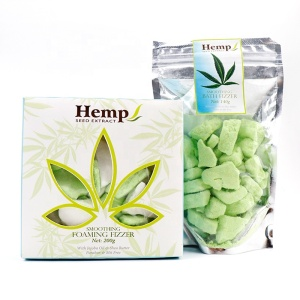 Hot Selling Custom logo High Quality Relaxing Handmade Bubble Fizzer Vegan Natural Organic Hemp Oil Bath Bomb Crumble