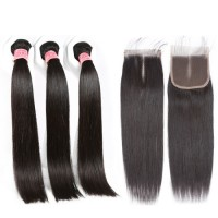 XBL Free shipping virgin brazilian human hair bundles with closure, wholesale straight wave human hair weave