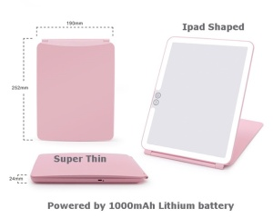 professing cosmetic led lighted Touch sensor switch 1000mah makeup mirror with light
