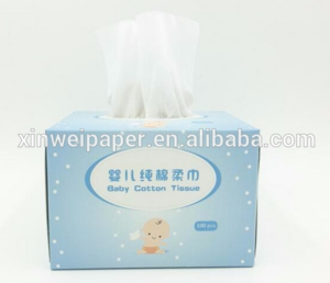 Pure and Natural Cotton Box Tissue for Baby Skin, 100pcs