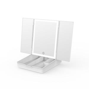 Travel Cosmetic Organizer Tri-fold LED Makeup Vanity Mirror