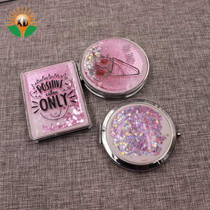new fashion personalized glitter round gold plated handheld mirror