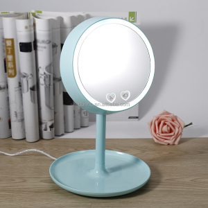 High Quality USB Charged 2 in 1 LED Light Makeup Mirror Table Lamp Vanity Mirror Intelligent Desk Stand Make up Mirror