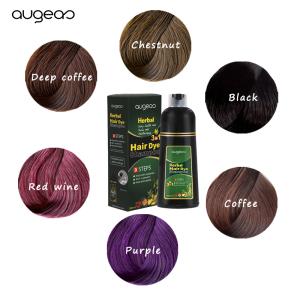 OEM LOGO Augeas Brands Ammonia Free Hair Dye Shampoo Manufacturer Private Label Dark Brown Natural Black Hair Color Shampoo
