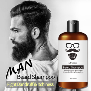Private label 200ml Easy cleaning organic natural argan oil beard shampoo for mens beard wash