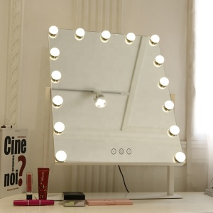 Retro Glam Makeup Mirror 15 LED Bulbs Double-Sided  Hollywood Decor Adjustable Light Color Dim