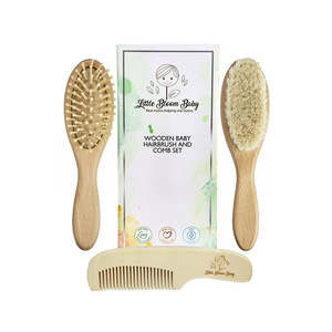wholesale baby healthcare and grooming kit baby care baby hair brush and comb set natural hair goat children wooden