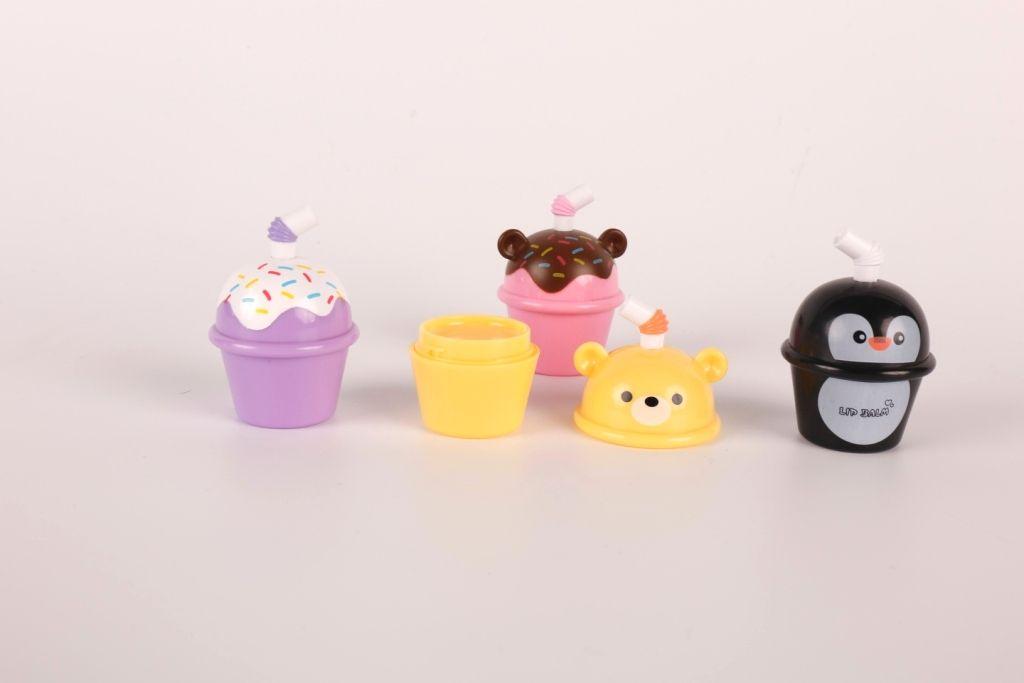 Wholesale Custom Private Label Ice Cream Bear Animal Safe Kids Lip Gloss Blam