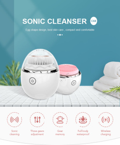 2020 bigsmile facial cleanser  waterproof  wireless rechargeable beauty cleaning instrument facial cleansing brush