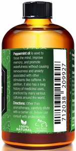 Organic 100% pure peppermint essential oil for aromatherapy