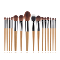 15pcs/set Customized Wood Handle Nylon Wool Makeup Brush Set Makeup Eyeshadow Foundation Brush Set