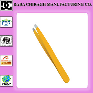 high quality stainless steel manicure tweezers yellow eyebrow tweezers