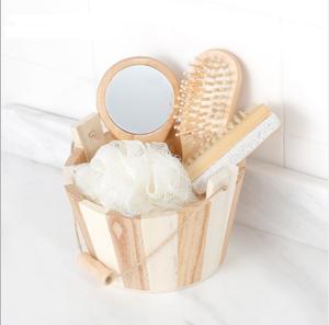 hot sale bathroom hand made wooden bath shower gift set