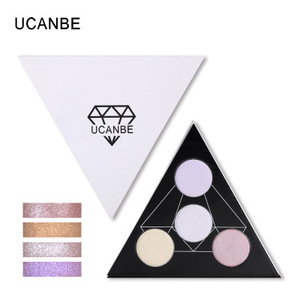 Hot sale UCANBE Triangle Glitter Eyeshadow Palette Holographic Shade Eye Lip Face Makeup Shimmer Shine Powder Nude Eye Shadow