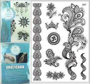 Newest Design 1pc Black Temporary Flash Henna Lace Tattoos Sticker Fashion Jewelry Sexy Lace Tattoo j021