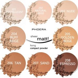 Phoera Waterproof Oil Control Matte Sheer Fixing Weightless Powder Foundation Makeup Facial Compact Pressed Powder