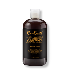 RAW EARTH  African black soap smoothing body wash calm and clear 16 fl oz