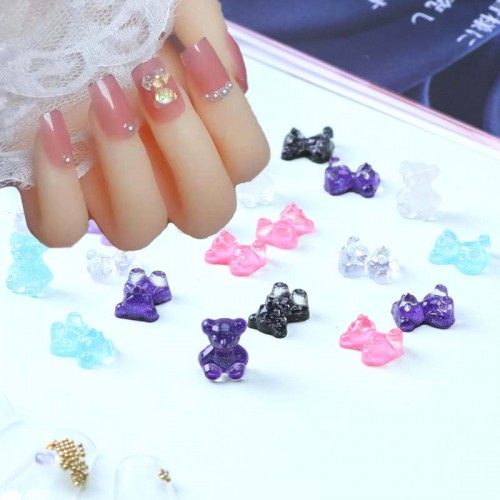 Nail Stciker Acrylic Discoloration Bear Resin decoration accessories Glitter Colorful For Nail Art DIY