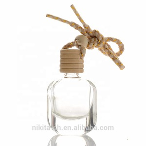 10ml Car Diffuser Bottle Car Perfume Bottle With Wood Cap Hanging Corded Rope for Empty Car Air Freshener  (CG20)