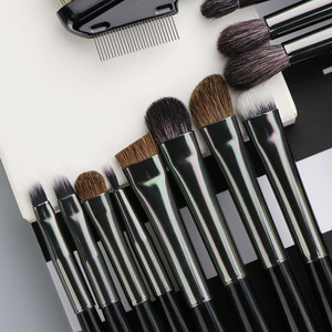 BEILI Pro 18 Pcs Black Makeup Brushes Tools Set Kits Cosmetic Eyeline Conclear Eyebrow Lip Wood Handle Box Packing Private Label