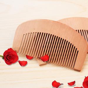 Wholesale Custom Logo Acceptable High Quality Peach Wooden Hair Comb