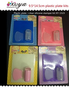 Factory Supply Transparent Stamp Nail Art Plastic Plate Clear Jelly Nail Art Stamping Kit