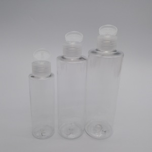 PET clear cosmetic bottles packing small shampoo bottle with filp top cap