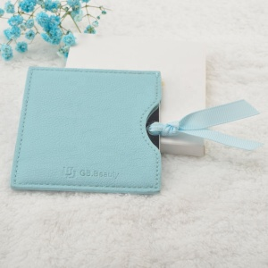 Square personalized smart PU bag stainless steel metal make up compact cosmetic mirror