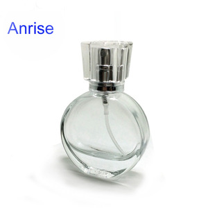 STOCK Elegant 25ml Oval Shape Clear Glass Perfume Bottle Refillable Pump Atomizer Bottle with Sprayer and Clear Caps