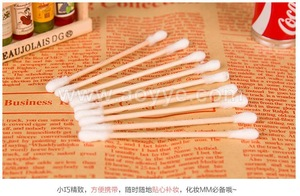 Cheap ear cleaning home makeup cotton swab double-end wooden stick cotton bud
