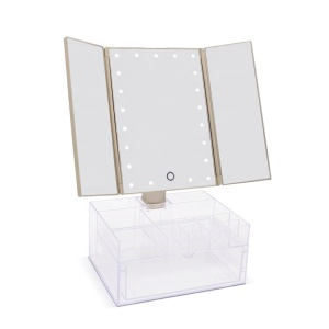 Luxury gold organizer table makeup mirror hot selling led lights three side folding mirror