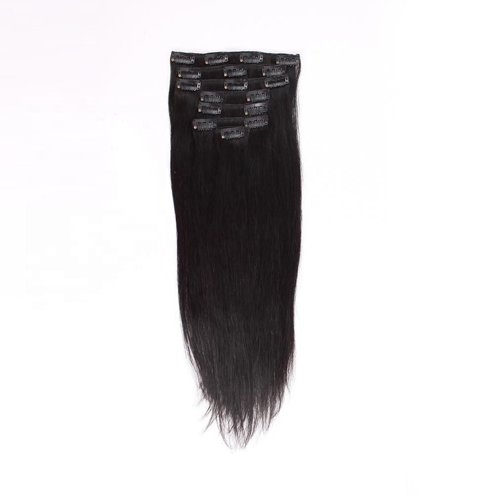 Natural color real remy brazilian 100% human clip in hair extensions