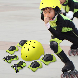 Kids Protective Gear Set 7 pcs Helmet Knee Pads and Elbow Guard for Sport Safety