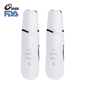 Lady use portable facial cleaner ultrasonic dead skin scrubber for face