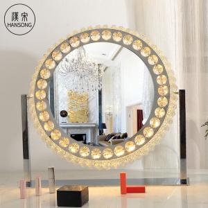 Wholesale Diamond Luxury Hollywood Style Crystal Crushed LED Light illuminated Round Makeup Vanity Mirror