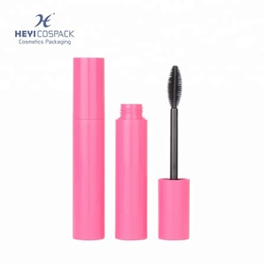 Empty plastic cosmetic mascara tube with silicone brush