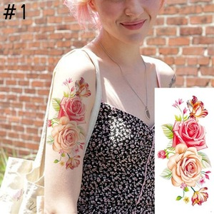 EP13 New Fashion Removable Women Lady 3D Flowers Waterproof Temporary Tattoo Stickers Beauty Body Art Easy Wear And Easy Clean
