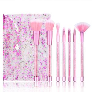 Glitter makeup brush girl heart PVC Plastic handle animal Hair a set of make up brushes empty handle