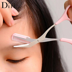 Wholesale Pink Plastic Handle Makeup Eyebrow Trimmer Cutting Scissor With Mini Comb