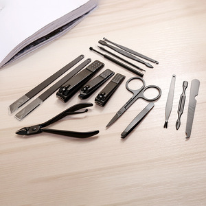 Small Travel Black Stainless Steel Nail Cutter Care Set Manicure Tools 15 Pcs